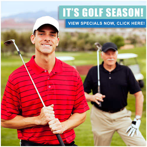 The K Co. has golf specials! Golf shirts, golf hats, golf accessories, Click here!